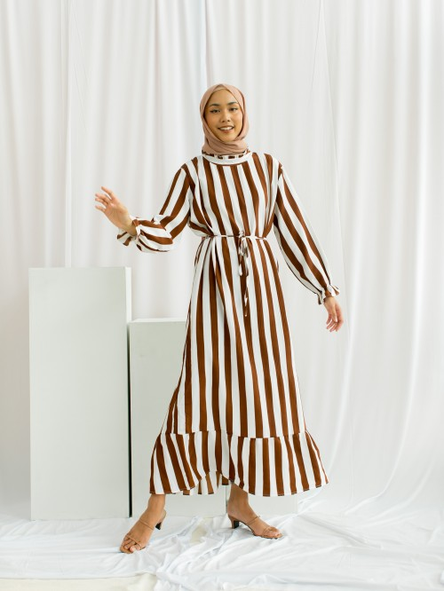 LASELLE DRESS IN WHITE BROWN